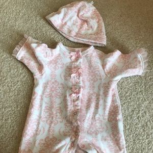 Little Me Preemie Pink and White Footie with Hat